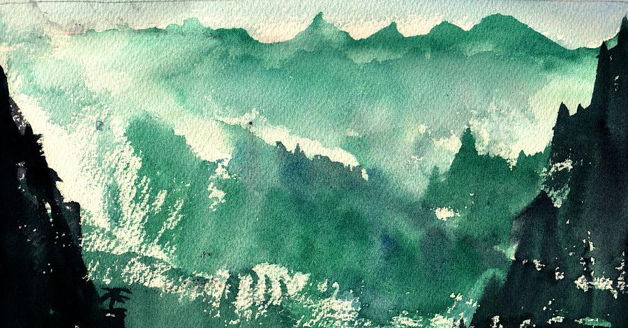 水彩模仿中国风