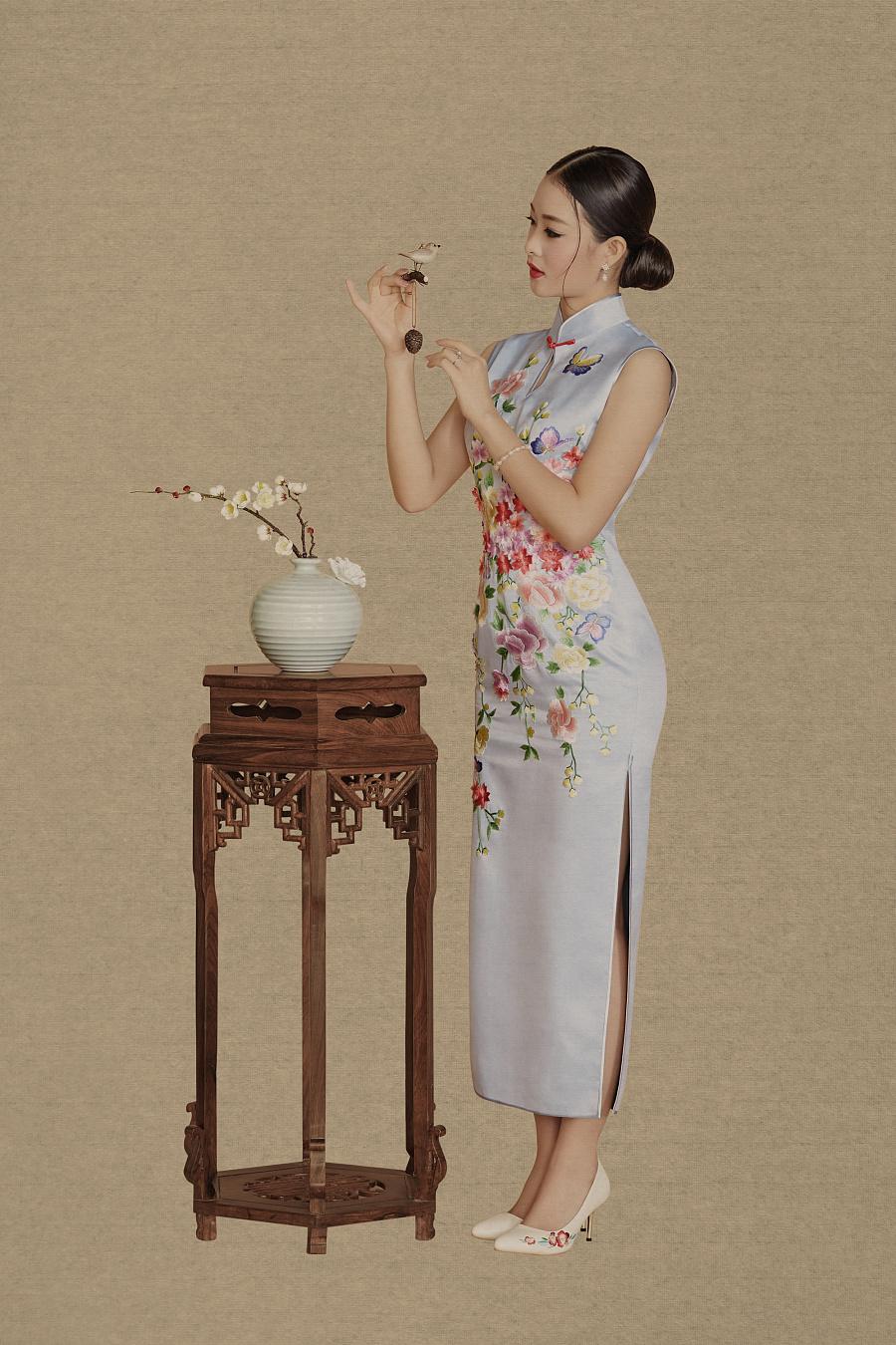 晚礼服发型_旗袍艺术人生:旗袍礼服-中国风-新文人画摄影- 中国风