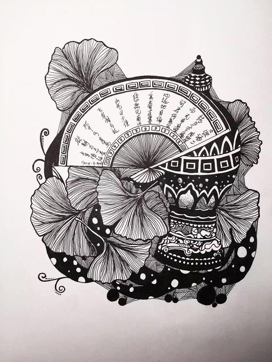 黑白手绘线条画_中国风黑白插画- 中国风