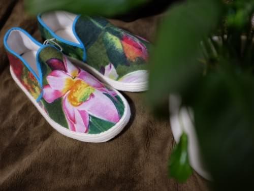 原创作品:【荷花】千层底布鞋