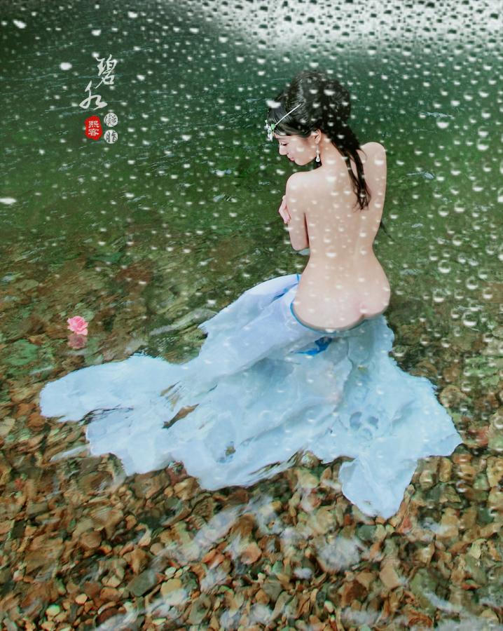 清幽水帘碧水凝脂中国风美女摄影艺术
