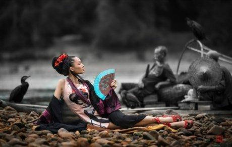 印象漓江--漓江烟雨唯美人像摄
