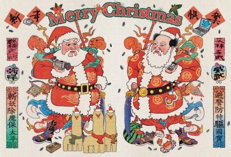 中国风的圣诞老人门神