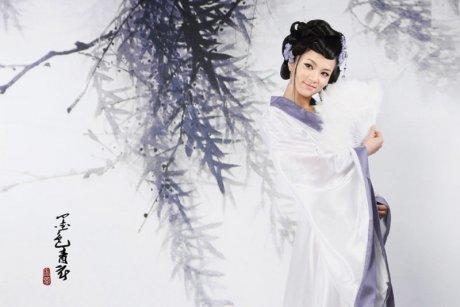 唯美中国风墨色青衣创意视觉艺